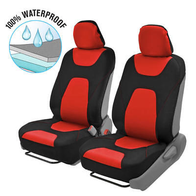Waterproof Armrest Compatible Front Car Seat Covers - Red Stylish 2 Tone Design ()