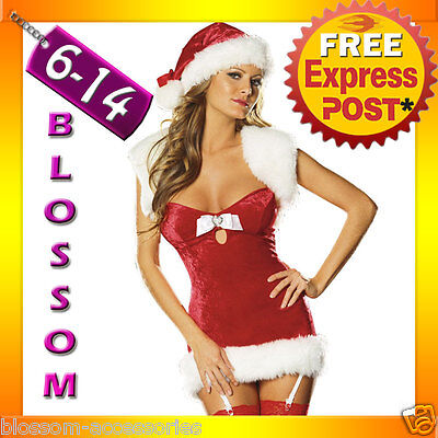 Christmas Costum (I34 Santa Claus Christmas Helper Fancy Dress Costume Xmas Party Outfit & Hat)