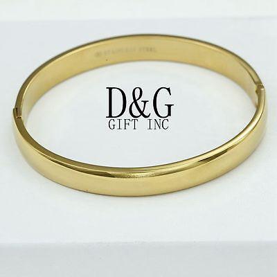 "DG Women's 6.5"" Gold Stainless-Steel,Solid Bangle Width Bracelet Unisex + Box"