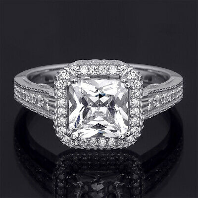 Womens Princess Cut Halo 2.4 Ct Wedding Engagement Ring Bridal Silver Size 5-9