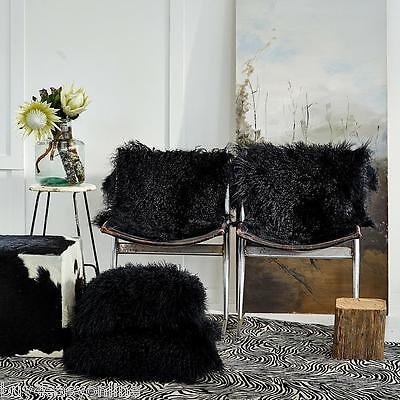 "Handmade Mongolian Fur 18x18"" Square Black Pillow Cushion & suede fabric back US"