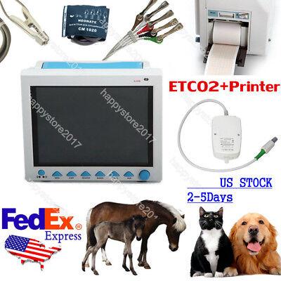 Us Veterinary Vital Signs Icu Patient Monitor Capnograph Etco2 Printerpet Vet