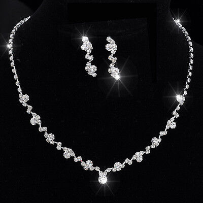 Bridal Wedding Jewelry Set Crystal Rhinestone Diamante Silver Necklace Earrings