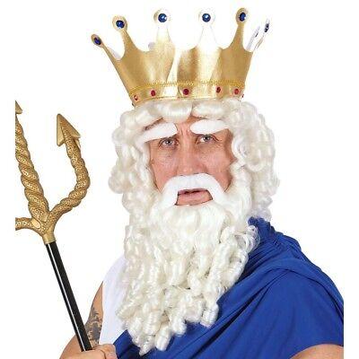ZEUS HERREN PERÜCKE & BART # Neptun Poseidon Griechischer Gott Kostüm Party 0787 (Zeus Griechische Kostüm)