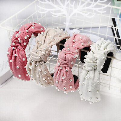 Vintage Knotted Pearl Hairband Knot Headband Hair Accessories Women Hair Band