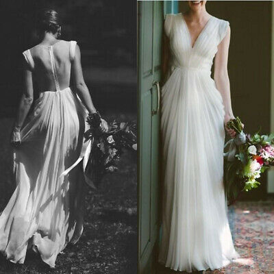 Vintage A Line Wedding Dresses V Neck Pleats Backless Chiffon Garden Bridal Gown
