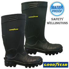 MENS GOODYEAR SAFETY STEEL TOP CAP WATERPROOF MIDSOLE WORK WELLINGTONS BOOTS