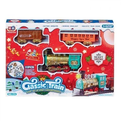 Christmas Toy Train Express Holiday Festive Set Track Light and Sound Kids Gift
