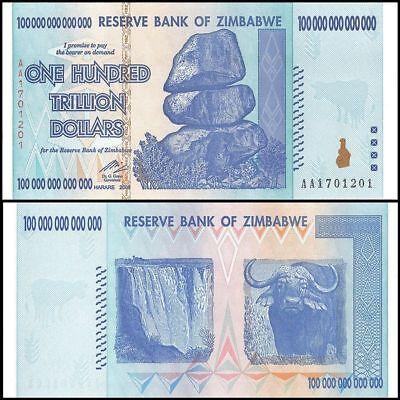 ZIMBABWE 100 TRILLION DOLLAR NOTE AA 2008 SERIES CIRCULATED AU.(*10 20 50 *)