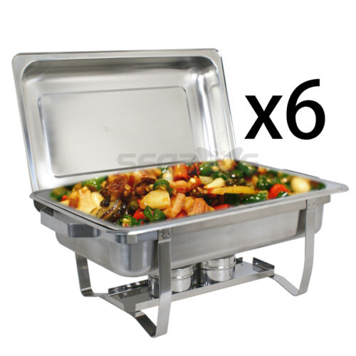 6-Pack Segawe Full Size 8 Qt. Stainless Steel Chafing Dishes with Durable Frames Business & Industrial