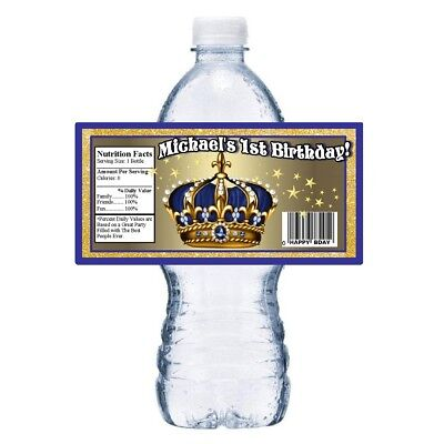 20 BLUE ROYAL PRINCE CROWN 1ST BIRTHDAY FIRST PARTY FAVORS~WATER BOTTLE LABELS
