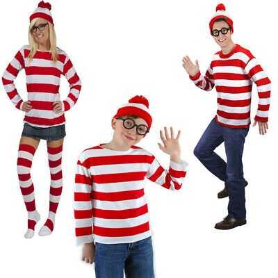 Parents Baby Halloween Costumes (Parent-Child Where is Wally Cosplay Costume Waldo Stripe Outfit Hat Halloween)