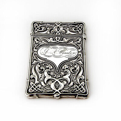 Ornate Calling Card Case Whiting Mfg Sterling Silver