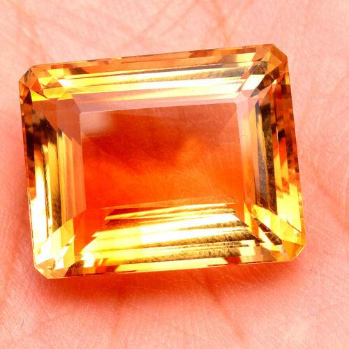 VVS Natural Citrine 50.00 Cts  AAA Golden Yellow Octagon Cut Gemstone ~Certified