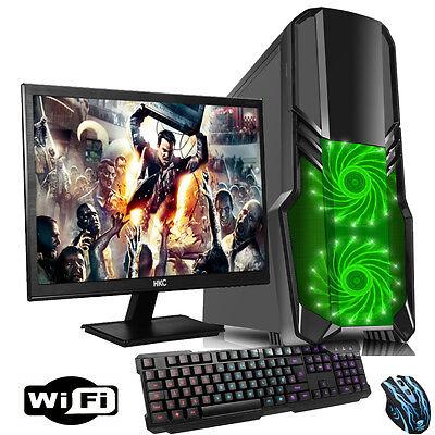 "AMD Dual Core 3.70GHz 21.5"" Desktop GT 710 Gaming PC Bundle 4GB 1TB WIFI cp4"