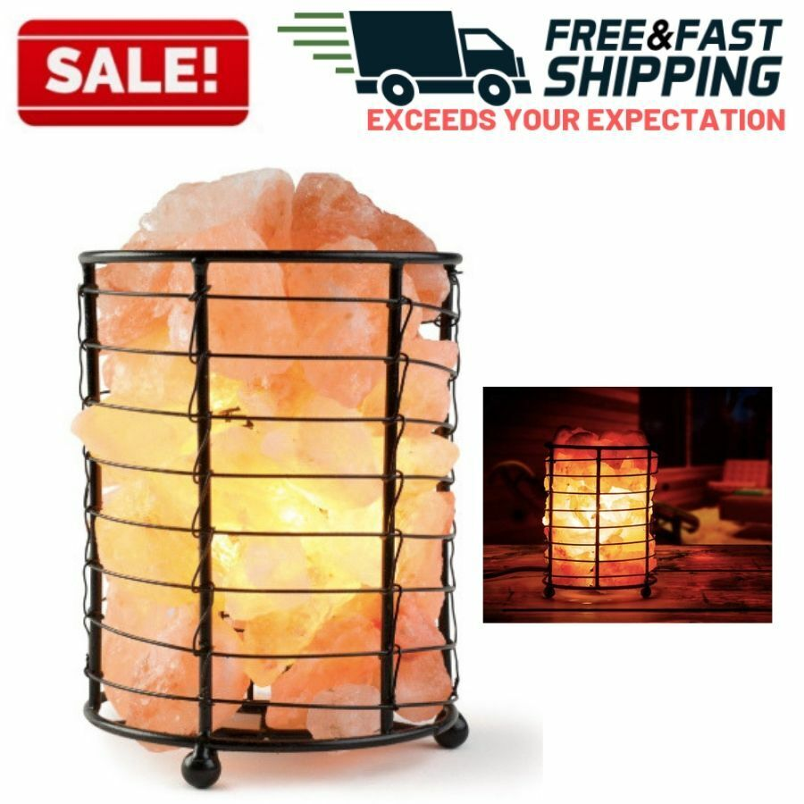 Himalayan Salt Lamp Basket Natural Crystal Rock Stone Night