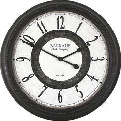 Baldauf Clock Company Oil Rub Bronze Large 22 Brown Round Wall Clock, Modern