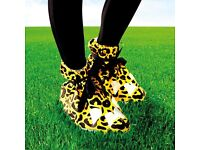 10 X FUNKY Festival Feet Animal Shoe Covers - One Size- UNISEX - Cheetah Print- KEEP FEET DRY