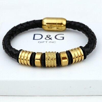 """DG Men's Gold Stainless-Steel 8"""" Black Braided Leather Magnetic Bracelet + Box"""