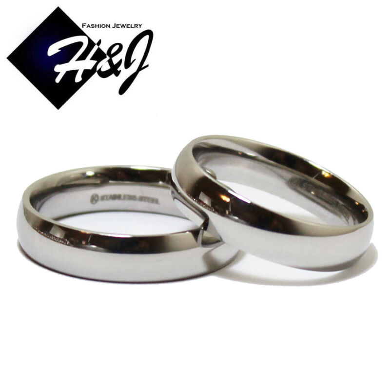 His & Hers 2 Pcs Stainless Steel 5mm Silver Plain Simple Wedding Band Ring SETS