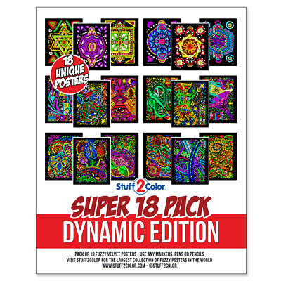 Super Pack of 18 Fuzzy Velvet 8x10 Inch Posters (Dynamic Edition) - Velvet Coloring Posters