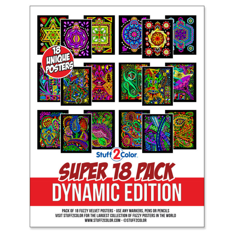Super Pack of 18 Fuzzy Velvet 8x10 Inch Posters (Dynamic Edition) Stuff2Color