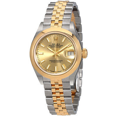 Rolex Lady Datejust 28 Champagne Dial Steel and 18kt Yellow Gold Jubilee Watch