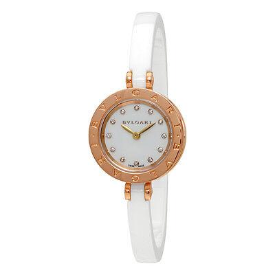 Bvlgari B.zero1 White Lacquered Dial White Ceramic Bangle Bracelet Ladies Watch