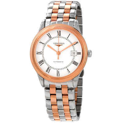 Longines Flagship Automatic White Dial Men's Two Tone Watch L4.974.3.91.7