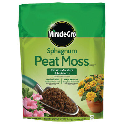 Miracle-Gro 8-Quart Sphagnum Peat Moss Unique Water-Holding Capabilities, NEW!
