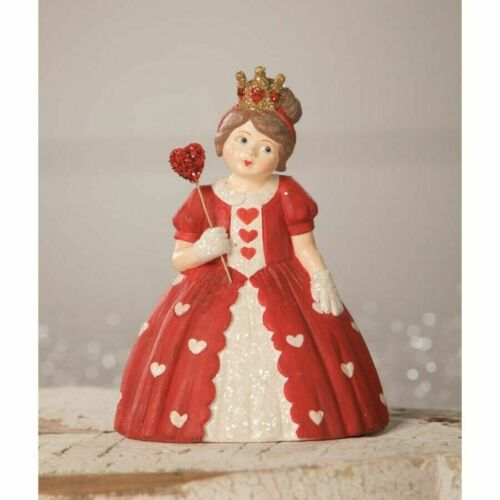 NEW Bethany Lowe Queen of Hearts Girl Figurine Valentine Crown Red Dress