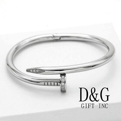 "DG Women's 7"" Stainless Steel,Silver Round Nail Bangle CZ Bracelet*Unisex*Box"