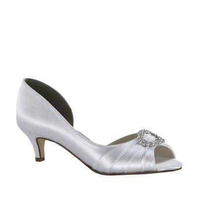 Touch Ups Women's Kennedy Low Heel Peep Toe White Size 10 #NCGTF-M44 Touch-ups Low Heel Heels