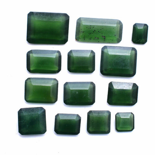 100.00 Cts Green Serpentine Natural 9mm-23mm Faceted Cut Untreated Gemstones Lot