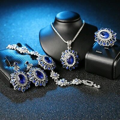 Rustic ancient silver plated style floral sapphire resin womens 4 pc jewelry set