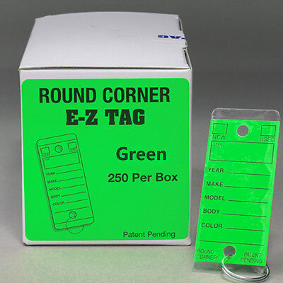 Green Car Dealer Key Tags Self Laminating Green Round Corner Ez407 250p