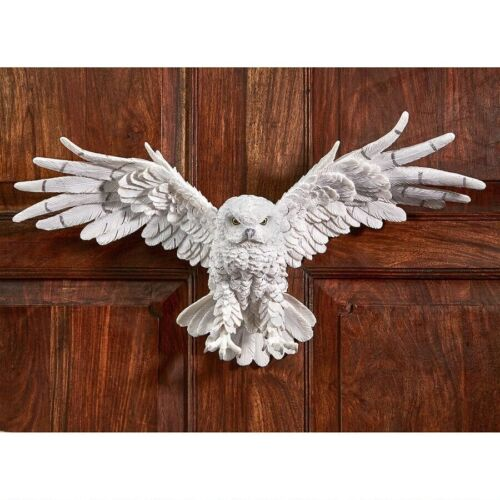 White Spirit Owl In Flight Garden Wall Sculpture Forest Bird of Prey Statue