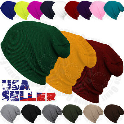0d550419486 Beanie Plain Knit Hat Winter Warm Cap Cuff Slouchy Skull Hats Ski Men  WomenCategory  Cuff Beanie Hat ...