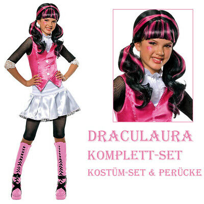 KINDER DRACULAURA KOSTÜM & PERÜCKE Halloween Monster High Vampirin Hexen Kleid
