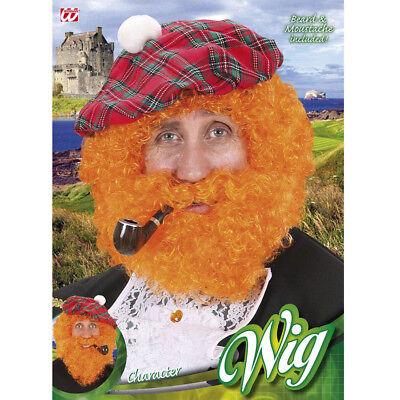 ORANGE SCHOTTEN PERÜCKE & BART # Karneval Fasching Schottland Kostüm Party - Schottland Kostüm