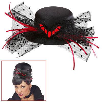 MINI FLEDERMAUS HUT Halloween Karneval Hexen Vamp Gothic Kostüm Party Deko 9390