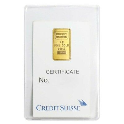 1 Gram Credit Suisse Statue Of Liberty Gold Bar  9999 Fine  In Assay