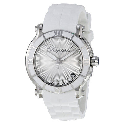 Chopard Happy Sport Silver Dial Floating Diamond Ladies Watch 278551-3001