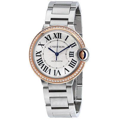 Cartier Ballon Bleu Automatic 18Kt Rose Gold Diamond Steel Ladies Watch WE902081
