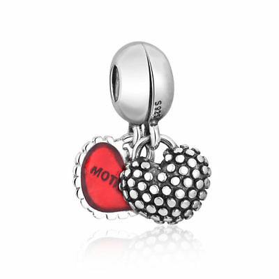 Authentic 2 Piece Of My Heart Mother Daughter Mother's Day Bead Dangle Charm