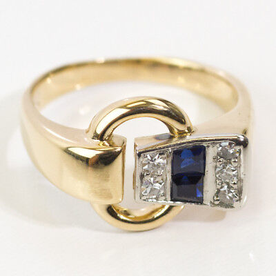 14k Gold Buckle Ring - DAZZLING 14K YELLOW GOLD DIAMOND AND BLUE SAPPHIRE BUCKLE RING BAND SIZE