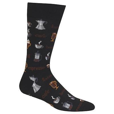 Gourmet Coffee Hot Sox Crew Socks New Men's Hosiery Size 10-13 Black