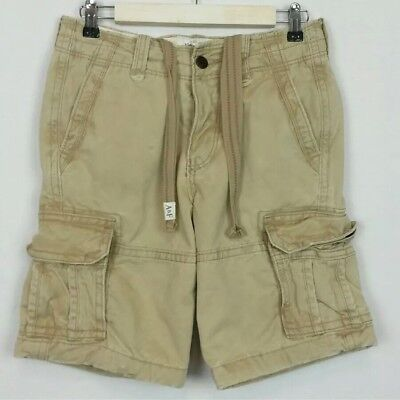 Abercrombie & Fitch Mens Size 28 Tan Distressed Heavy Cargo Shorts Military  for sale  Shipping to Canada