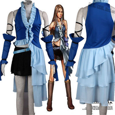 Final Fantasy FF10 Yuna Lenne Songstress Fancy Dress Halloween Cosplay Costume