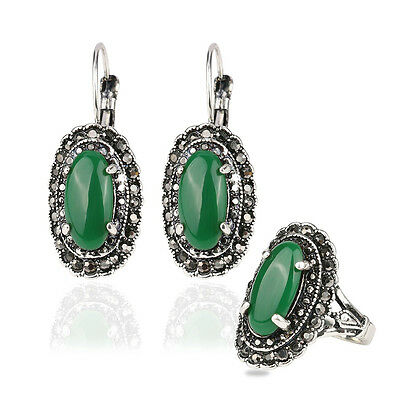 Hurrem Turkey Style Ancient Silver Oval Green Agate Necklace Ring Earring -